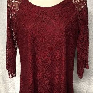 Sexy Brittany Black Tunic Top Red Maroon Lace Over